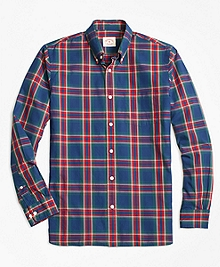 Checkered Tartan Broadcloth Sport Shirt