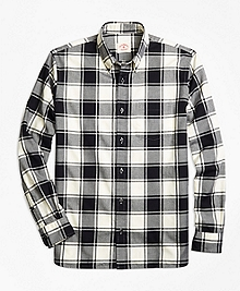Checkered Brushed-Cotton Flannel Sport Shirt