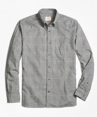 Glen Plaid Brushed-Cotton Flannel Sport Shirt