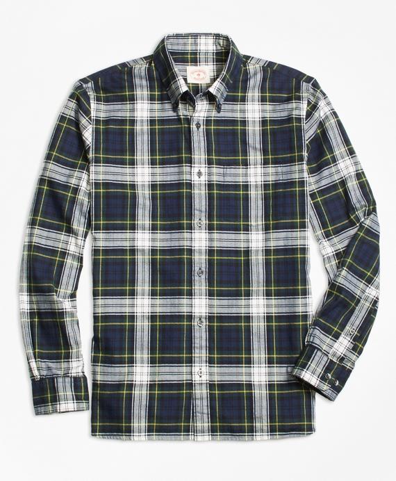 Blue Tartan Flannel Sport Shirt Navy