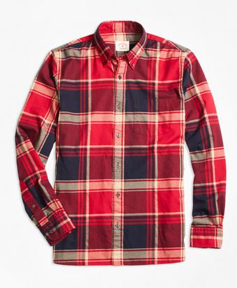 Red Tartan Flannel Sport Shirt