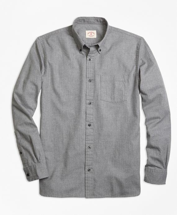 Herringbone Brushed-Cotton Flannel Sport Shirt
