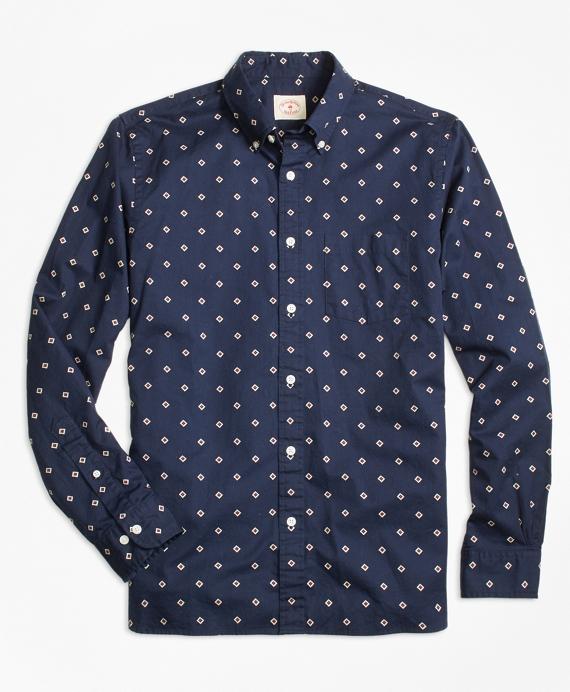 Foulard Diamond-Print Sport Shirt Navy