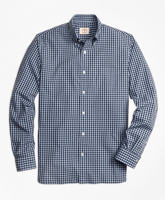 Gingham Broadcloth Sport Shirt Blue