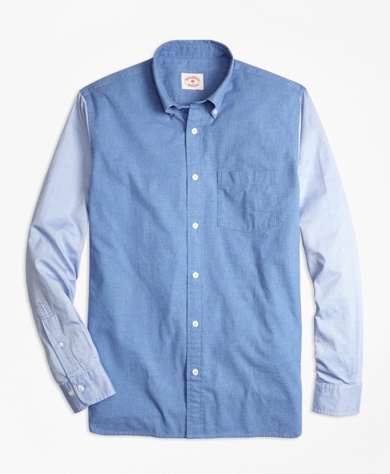 Chambray Color-Block Sport Shirt Chambray
