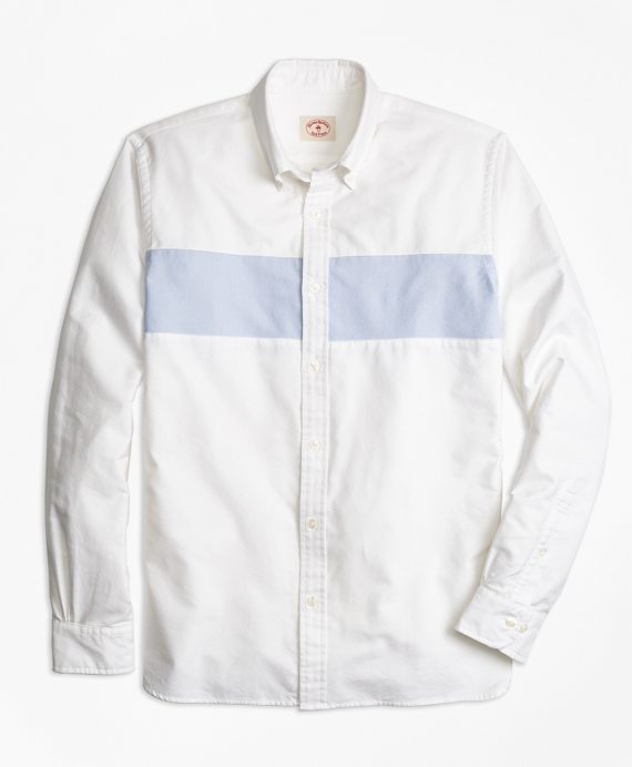 Color-Block Stripe Oxford Sport Shirt White