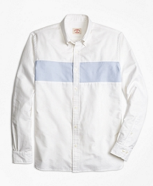 Color-Block Stripe Oxford Sport Shirt