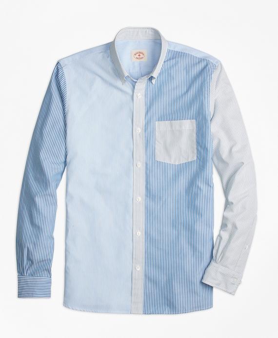Stripe Mixed-Media Sport Shirt Blue