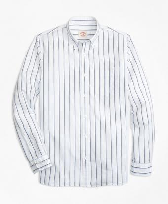 Double-Stripe Broadcloth Sport Shirt