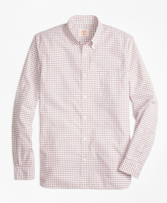 Checkered Broadcloth Oxford Sport Shirt White-Blue-Red