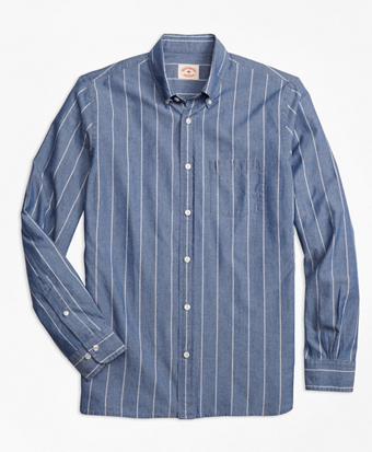 Chambray Thin-Stripe Sport Shirt