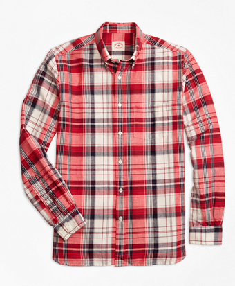 Plaid Linen-Cotton Sport Shirt