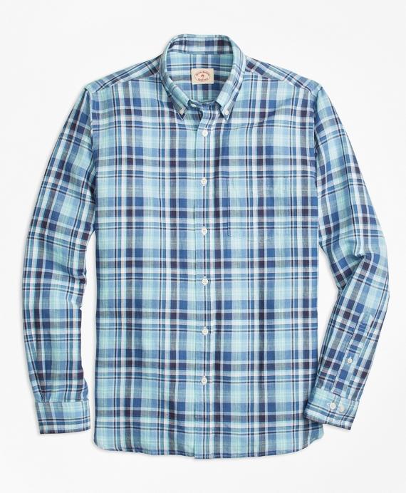 Plaid Linen-Cotton Sport Shirt Blue