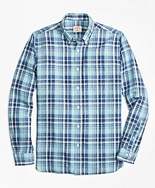 Plaid Linen-Cotton Sport Shirt