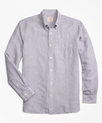 Stripe Linen-Cotton Sport Shirt