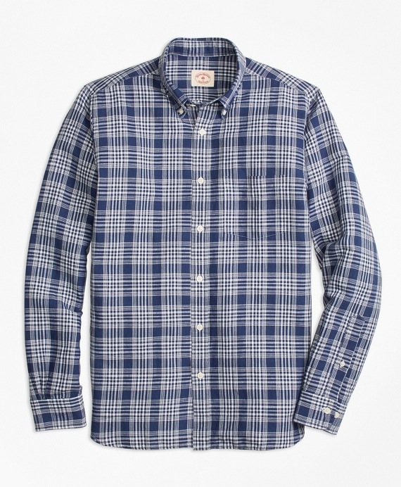 Plaid Linen-Cotton Sport Shirt Navy-White