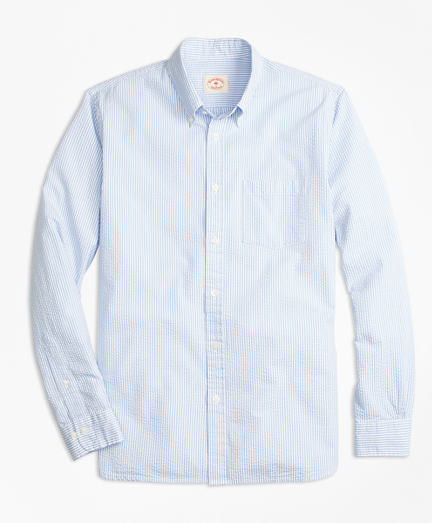 Stripe Cotton Seersucker Sport Shirt