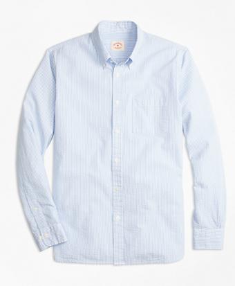 Stripe Cotton Seersucker Sport Shirt