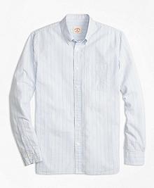 Tick-Stripe Cotton Seersucker Sport Shirt