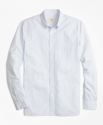 Tick-Stripe Cotton Seersucker Sport Shirt