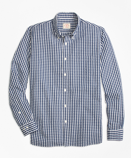 Check Cotton Seersucker Sport Shirt