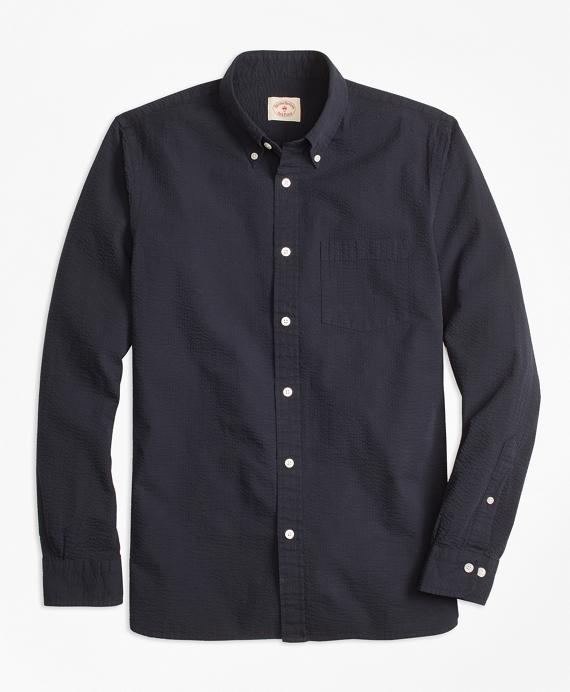 Cotton Seersucker Sport Shirt Navy