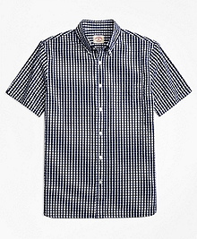 Check Cotton Seersucker Short-Sleeve Sport Shirt