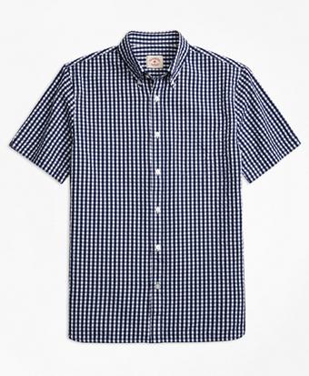 Check Cotton Seersucker Short-Sleeve Sport Shirt