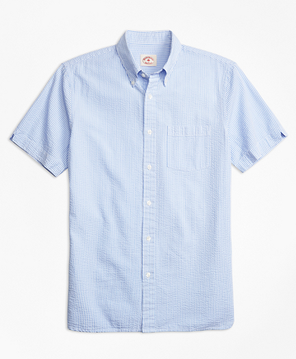 Stripe Cotton Seersucker Short-Sleeve Sport Shirt