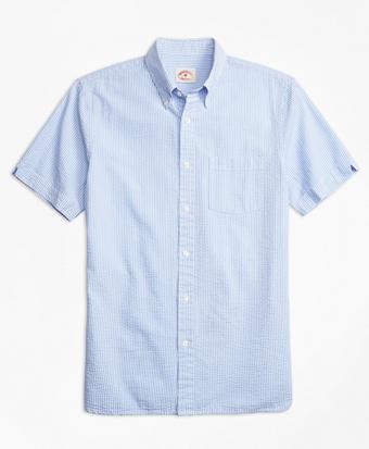 Stripe Cotton Seersucker Short-Sleeve Sport Shirt