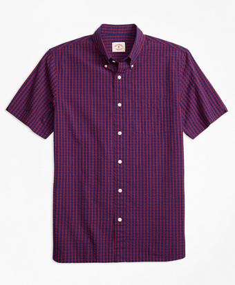 Plaid Cotton Seersucker Short Sleeve-Sport Shirt