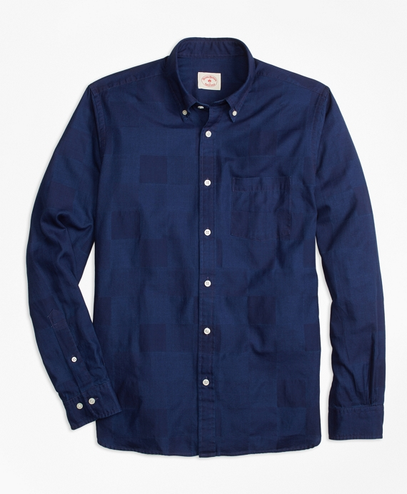 Patchwork Chambray Jacquard Sport Shirt Chambray