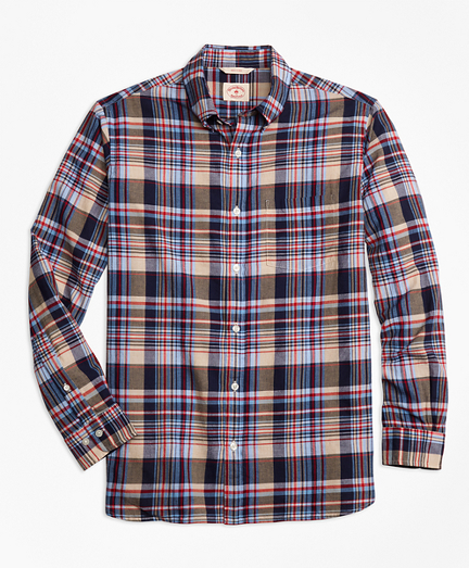 Plaid Crepe Madras Sport Shirt