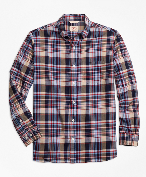 Plaid Crepe Madras Sport Shirt Grey-Blue