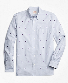 Pinwheel-Embroidered Striped Oxford Sport Shirt
