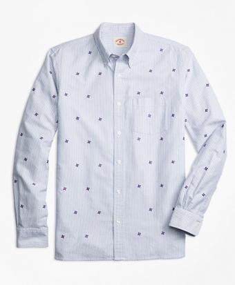 Pinwheel-Embroidered Striped Oxford Sport Shirt