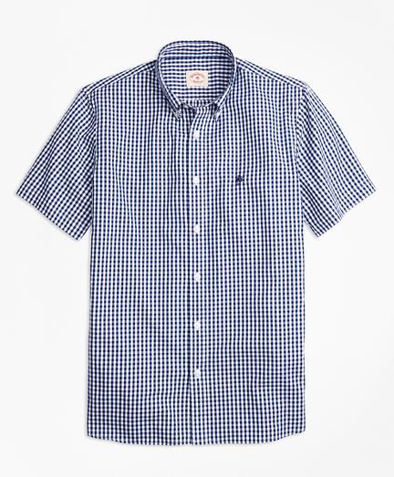 Gingham Batiste Oxford Short-Sleeve Sport Shirt