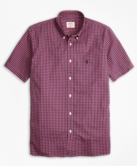 Gingham Batiste Oxford Short-Sleeve Sport Shirt Pink-Blue