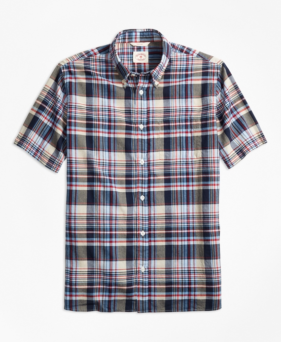 Plaid Crepe Madras Short-Sleeve Sport Shirt Grey-Blue