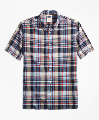 Plaid Crepe Madras Short-Sleeve Sport Shirt