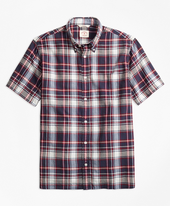 Plaid Crepe Madras Short-Sleeve Sport Shirt Navy