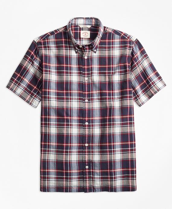 Plaid Crepe Madras Short-Sleeve Sport Shirt