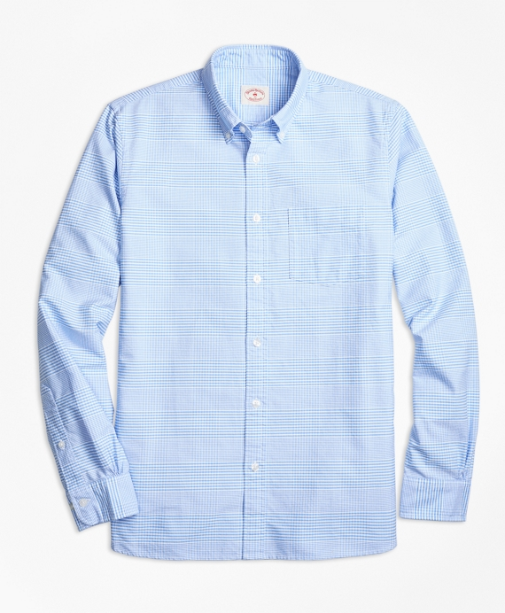 Glen Plaid Oxford Cotton Sport Shirt Navy-White