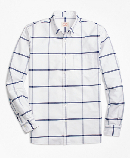 Windowpane Oxford Cotton Sport Shirt