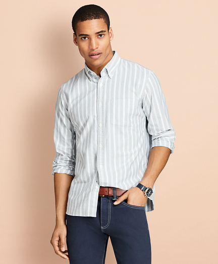 Stripe Oxford Cotton Sport Shirt