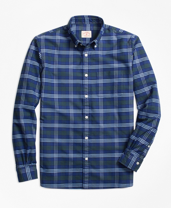 Check Oxford Cotton Sport Shirt Blue-Green