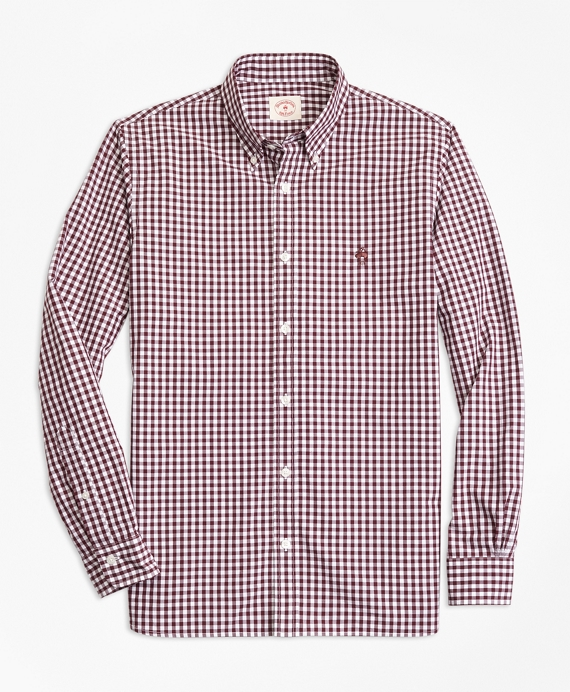 Gingham Cotton Broadcloth Sport Shirt Burgundy