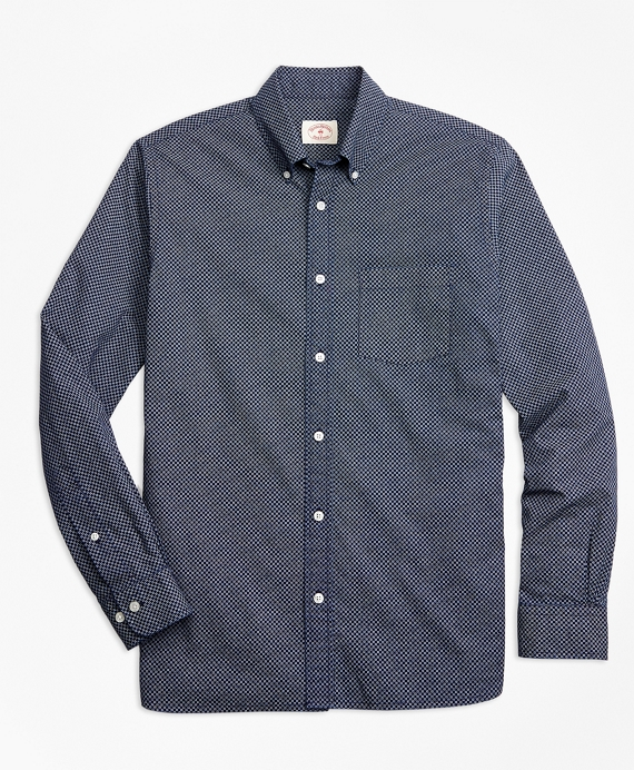 Indigo Geometric-Print Chambray Sport Shirt