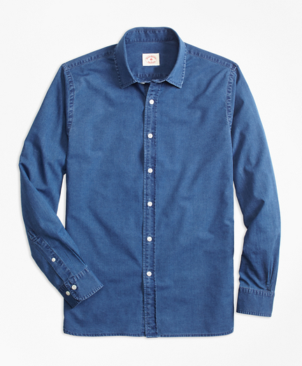 Indigo-Dyed Cotton Chambray Sport Shirt