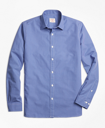 Micro-Grid Cotton Poplin Nine-to-Nine Shirt